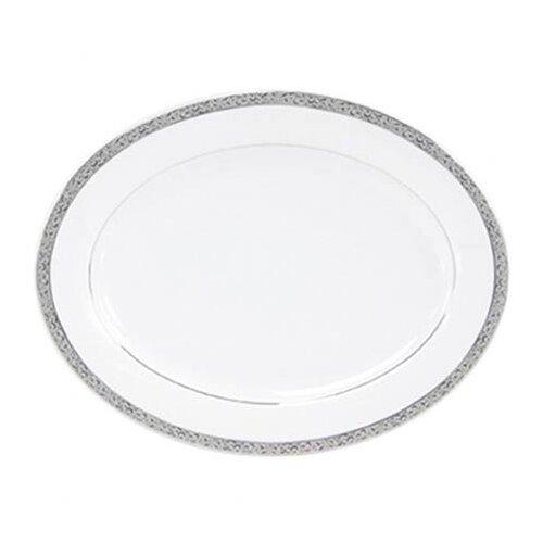 "Nikko Ceramics Sentiments Platinum Filigree 14"" Oval Platter"