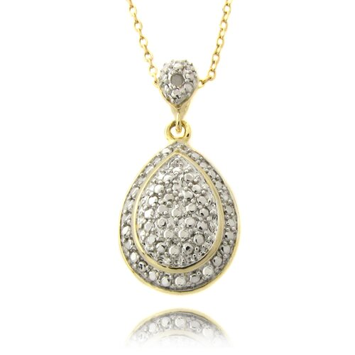 Gold Overlay and Diamond Accent Pear Drop Necklace
