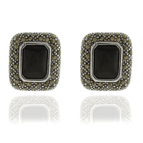 Silver Overlay Marcasite and Black Onyx Square earrings