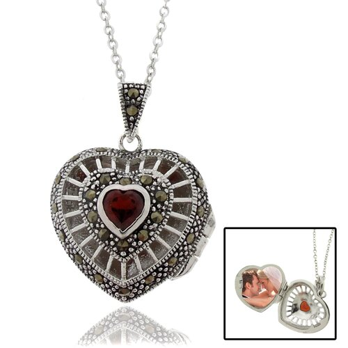 Silver Overlay Marcasite and Garnet Heart Locket