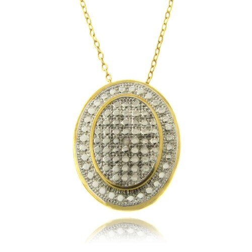 Gold Overlay Diamond Accent Oval Necklace