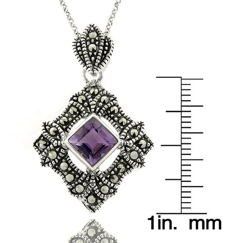 Gem Jolie Silver Overlay Amethyst and Marcasite Geometric Pendant Necklace