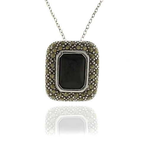 Silver Overlay Marcasite and Black Onyx Square Pendant Necklace