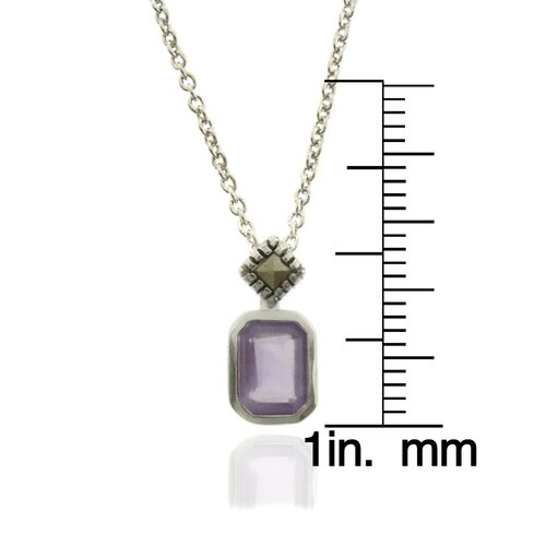 Silver Overlay Marcasite and Gemstone Square Pendant Necklace