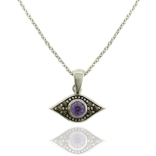 Silver Overlay Marcasite and Gemstone Evil Eye Pendant Necklace