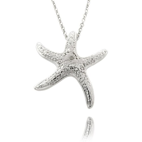 Silver Overlay Diamond Accent Star Fish Necklace