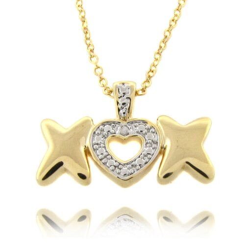 Silver Overlay Diamond Accent Heart and X Necklace