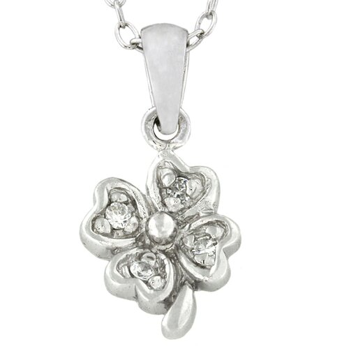 Gem Jolie Sterling Silver Cubic Zirconia Flower Necklace