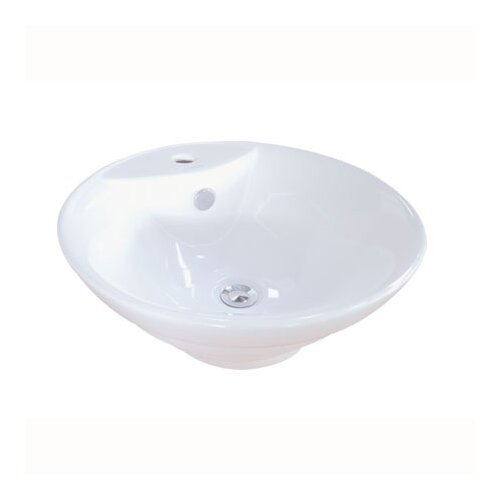 Vessel Sink With Overflow : ... Ripple China Vessel Bathroom Sink with Overflow Hole and Faucet Hole