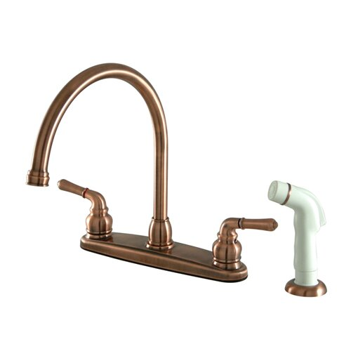 Magellan Double Handle Goose Neck Kitchen Faucet with Side Spray