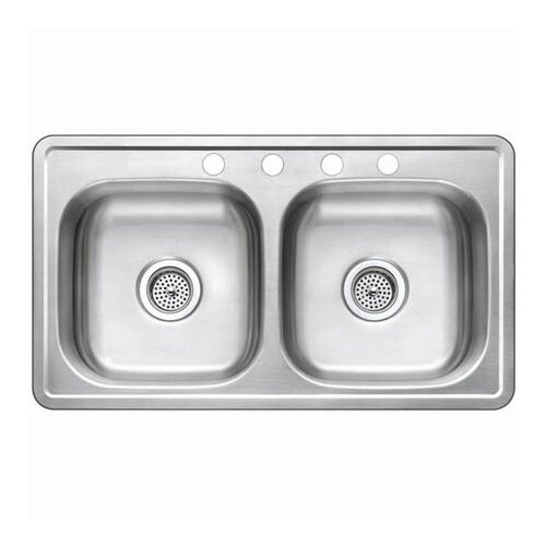 "Kingston Brass Studio 19"" x 33"" Gourmetier Self-Rimming Double Bowl Kitchen Sink"