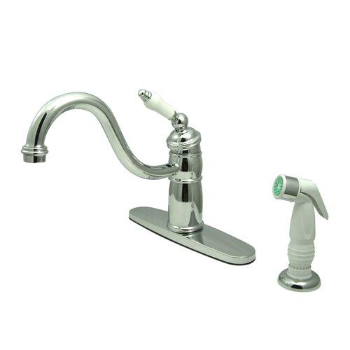 Victorian Single Handle Widespread Kitchen Faucet with Non-Metallic Spray