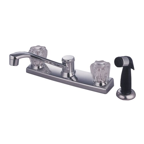 Americana Twin Acrylic Handle Kitchen Faucet with Non-Metallic Spray