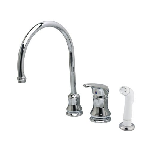 Legacy Single Handle Goose Neck Kitchen Faucet with Non-Metallic Spray