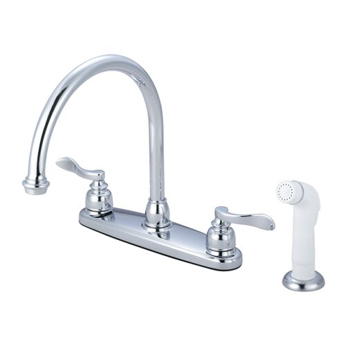 NuWave French Double Handle Centerset Kitchen Faucet with White Spray