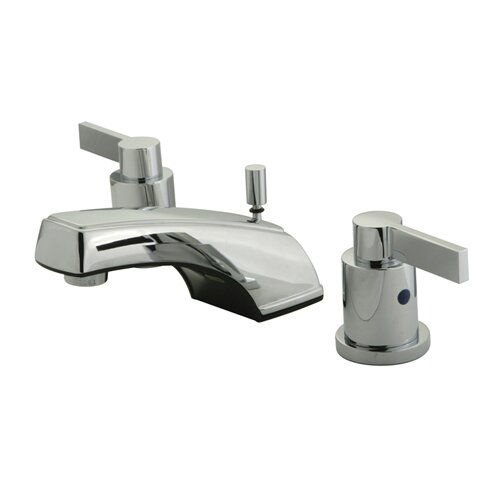 NuVo Fusion Double Handle Widespread Bathroom Sink Faucet with Brass Pop-up