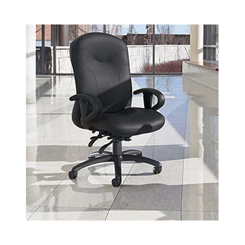 Global Total Office High-Back Leather Multi-Tilter Office Chair with Arms