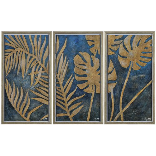 Ren-Wil Foliage by Liza Stones 3 Piece Framed Original Painting Set