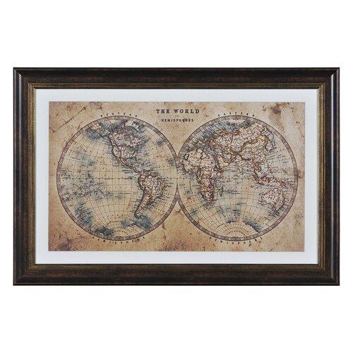 World Hemispheres by Kelly Stevenson Framed Graphic Art