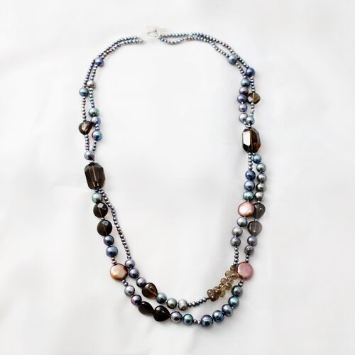Peacock Blue Cultured Pearl Necklace with Smoky Quartz