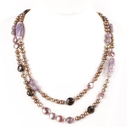 Cultured Pearl Necklace with Gemstones