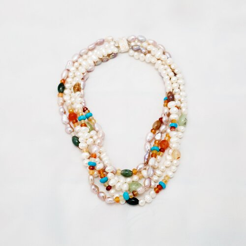 Multi-Strand Twisted Cultured Pearl Necklace with Gemstones