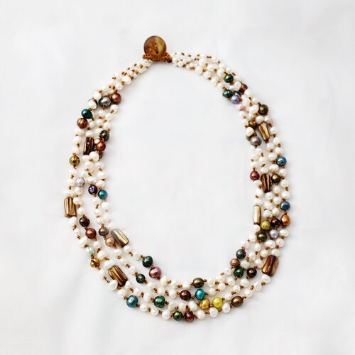 Multi-Strand White and Colored Cultured Pearl Necklace Crafted on Brown Thread with Tiger Eye