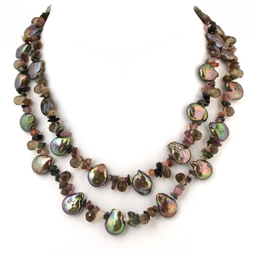 Cultured Brown Coin Pearl Necklace with Gemstones
