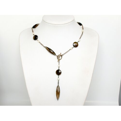 Cultured Pearl Necklace on Silver Chain with Smoky Quartz