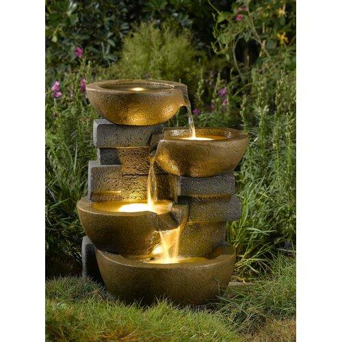 Jeco Zen Tiered Pots Fountain With Light Reviews Wayfair
