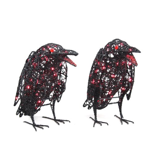 Lighted Wire Ravens Halloween Decoration (Set of 2)