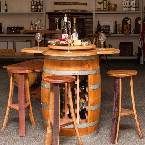 Wine Barrel Table Set with Open Rack Base