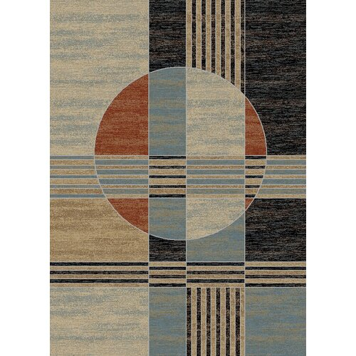 Manhattan Dark Green Copper Abstract Rug