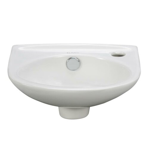 Porcelain Oval Wall Mounted Compact Sink