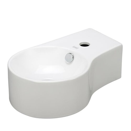 Porcelain Round Wall Mounted Deep Bowl Left Facing Sink