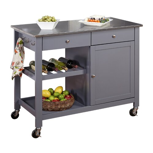 TMS Columbus Kitchen Island with Stainless Steel Top & Reviews