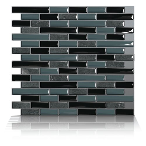 Mosaik Self Adhesive Wall Tile in Muretto Nero