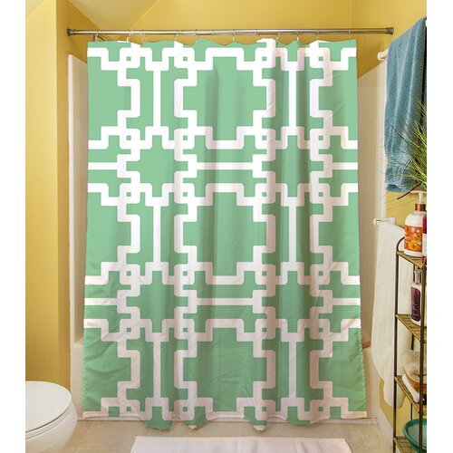 Modern Geometric Mint Shower Curtain
