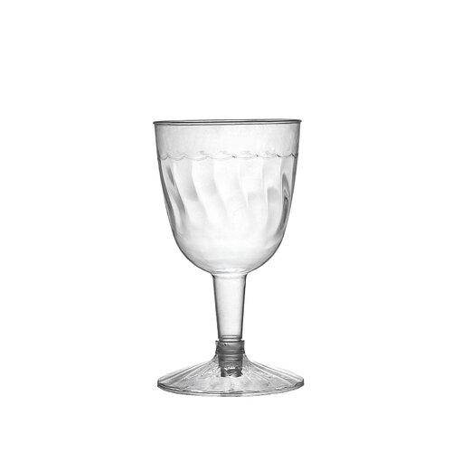 Flairware Rippled Disposable Plastic 2 Piece 5 oz. Wine Goblet (360/Case)