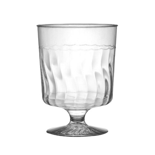 Flairware Rippled Disposable Plastic 8 oz. Wine Glass (240/Case)