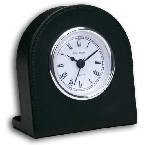 1000 Series Classic Leather Clock with Silver Insert in Black
