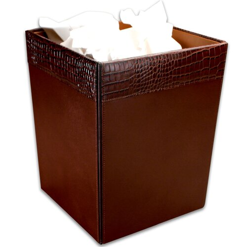Dacasso 2000 Series Crocodile Embossed Leather Square Waste Basket