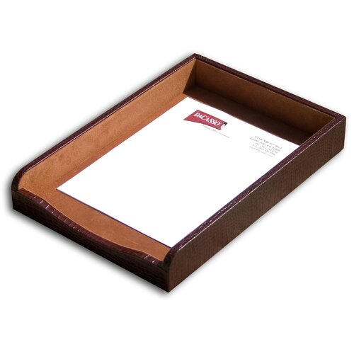 Dacasso 2000 Series Crocodile Embossed Leather Front-Load Legal Tray in Brown