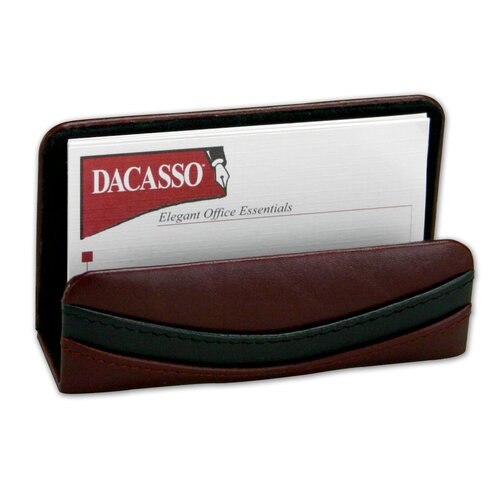 7000 Series Contemporary Leather Business Card Holder in Burgundy
