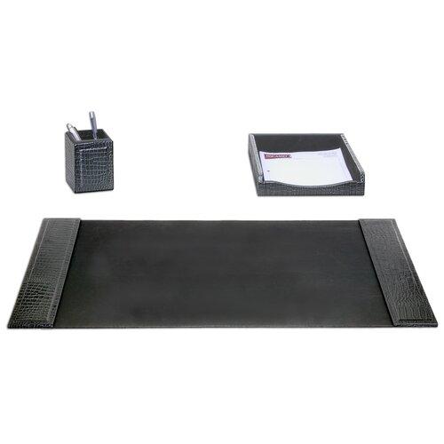 Dacasso Crocodile Embossed Leather 3-Piece Desk Set