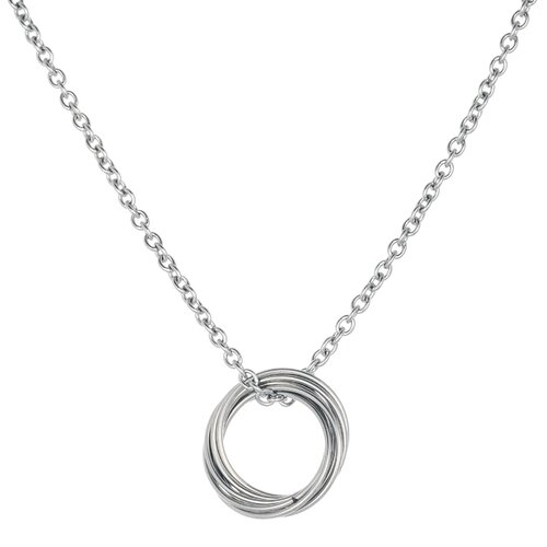 Stainless Steel Oval Rings Pendant Necklace