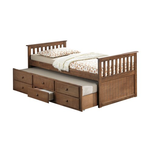 Marco island twin captain bed with drawer wayfair for Kids twin bed with drawers