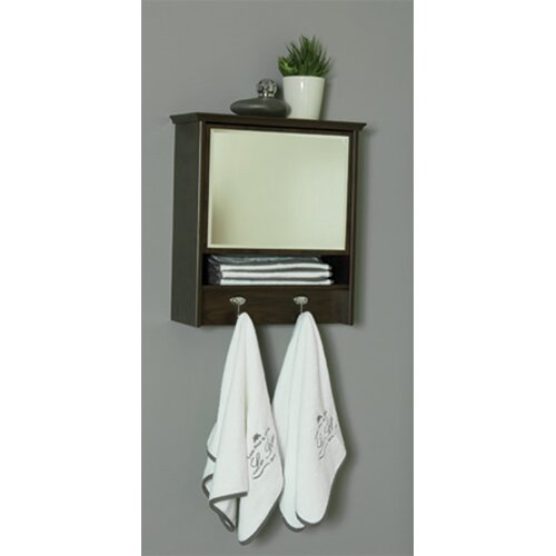 Cabinet with Mirror, 2 Garment Hooks and 3 Shelves
