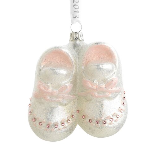 Baby Girl Booties Blown Glass Ornament
