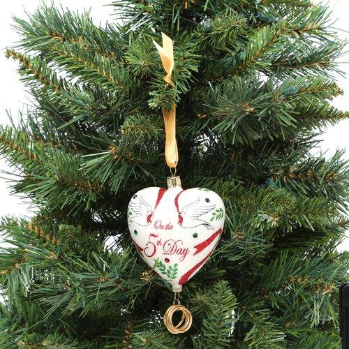 European Handmade Glass Blown Ornaments Five Golden Rings